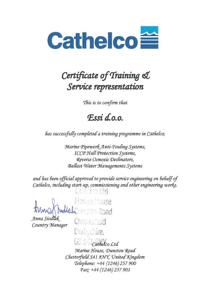 Cathelco-Essi certifikat
